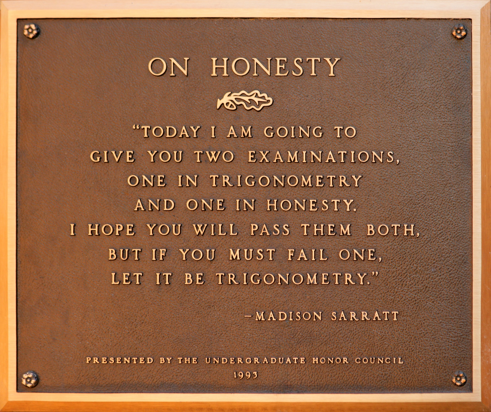 "Vanderbilt University's plaque ""On Honesty"""